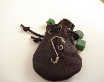 Small Embroidered Leather Dice Bag