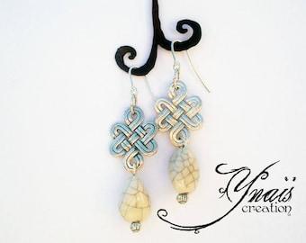 "Silver earrings 925 ""Celtic knot and raku"" ceramic"