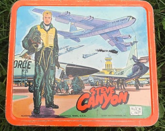 Sale! Steve Canyon Rare Lunch Box 1959 Metal Lunch Box Midcentury