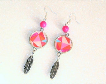 Earrings ' Silver earrings 925, feather, pink geometric cabochon charms