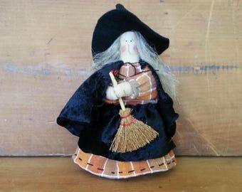 Primitive Shelf Sitting Halloween Witch