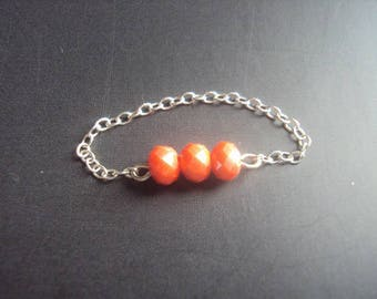 Small Swarovski orange ring 925 Silver chain