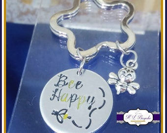 Bee Happy Keyring - Bee Gift - Be Happy Gift - Bee Happy Keychain - Be Happy Keychain - Bumble Bee Keyring - Bumble Bee Gift