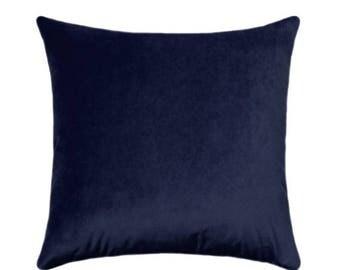 SALE Navy Blue Velvet Pillow Cover // Solid Navy Velvet // Navy Throw Pillow // Navy Velvet Pillow Cover // Obsession Velvet Pillow Navy Pil