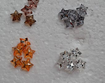 set of 4 buttons star Crystal 11mm