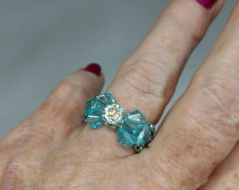 Light Blue Bow-Tie Ring