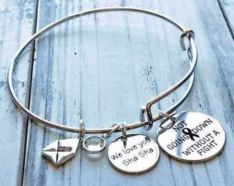 Not Going Down Without a Fight Awareness Wire Adjustable Bangle Bracelet