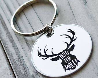 Into the Wild Deer Antler Buck Personalized Key Chain - Engraved