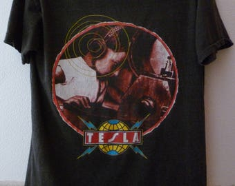 """Tesla-""""the great radio controversy"""" 1989 world tour t.shirt-size L"""