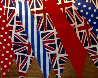 Fab Union Jack Bunting -  sold in 5m (16ft) lengths. Single sided Large flags- red, blue, white polka dot/stripe/plain