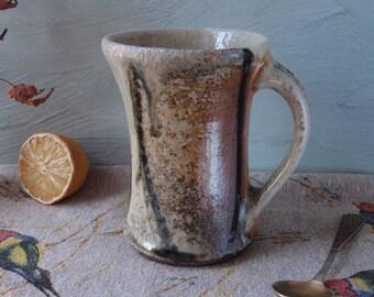 Shino ceramic mug, handmade wood fired stoneware