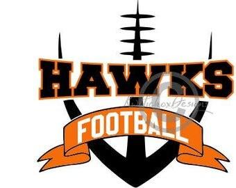 Hawks Football Svg, Hawk Svg, Football Banner Svg, Football Dxf