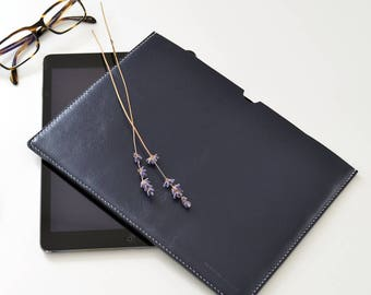 iPad sleeve - Harper leather ipad case / leather ipad bag blue leather ipad cover leather ipad pouch handstitched ipad 2 case for him