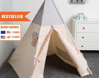 kids teepee play tent, children teepee tent, teepee tent, tipi,  GREY DOTS