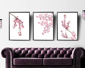 Cherry Blossoms Art, Set Of 3 Prints, Gift For Wife, Botanical Print Set