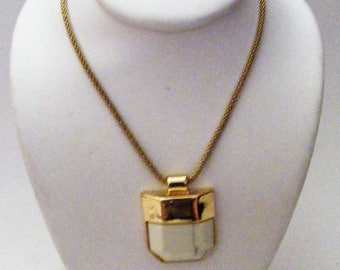 Vintage Gold Tone Necklace with White Pendant