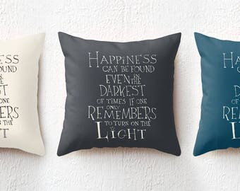 18x18 Harry Potter Throw Pillow, Happiness can be found/Dumbledore Quote Cushion Cover, College Dorm Decor Christmas Gift for Potterhead