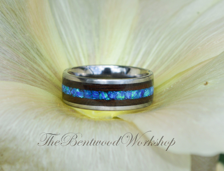 Titanium opal ring Opal wood ring bentwood ring opal