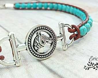 Turquoise choker necklace, country western choker, horse choker, leather choker, beaded choker, western jewelry, country girl, horse jewelry