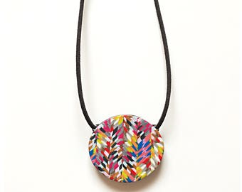 Multicolor feathered chevron pendant on suede - handmade with polymer clay