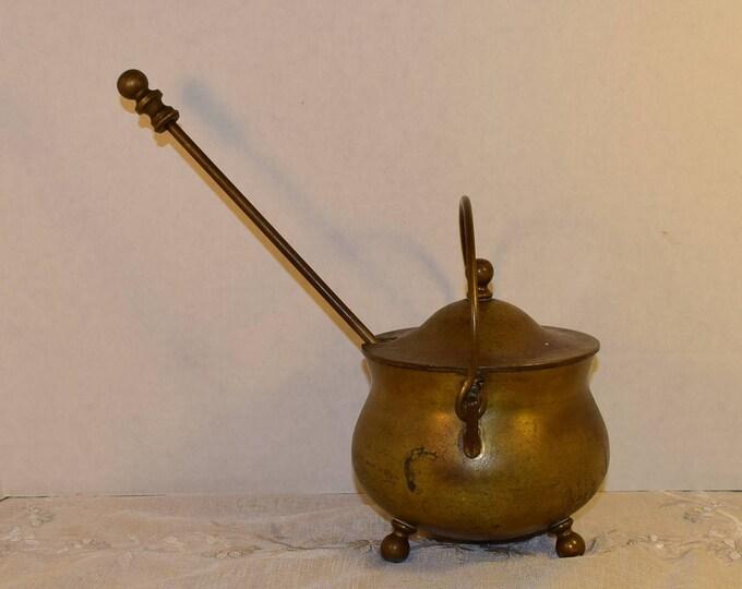 Featured listing image: Brass Smudge Pot Vintage Firestarter Brass Cauldron Brass Lid Handle Soapstone Pumice Wand Patina 3 Piece Set Brass Fireplace Decor