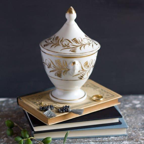 French Gold Vine Lidded Jar