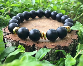 Priscilla Bracelet- Matte Black Onyx Agate(10mm) - Black and gold bracelet- 22k gold plated- boho beaded bracelet - OliverGreyJewelry