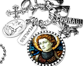 St. George Pendant Catholic Holy Medal Charm Necklace, Religious Jewelry Gift, Miracle Worker, Fearless Faith