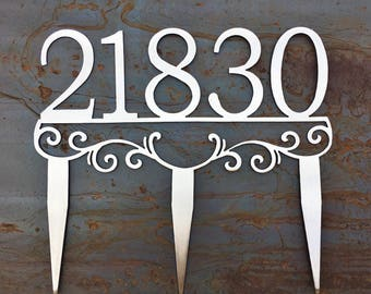 Custom Metal Address Stakes | Yard Address | House Number Yard Sign | Stainless Steel Address Marker
