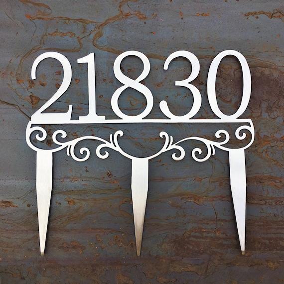 Custom Metal Address Stakes | Yard Address | House Number Yard Sign | Stainless Steel Address Marker