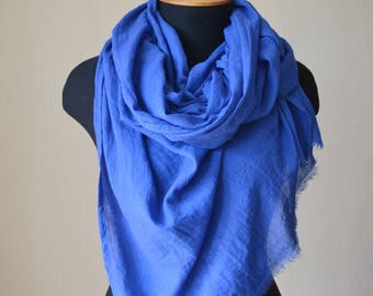 Wife birthday gift for her blue scarf summer scarf cotton scarf fashion scarf gift mom long scarf womens scarves sister gift soft scarf