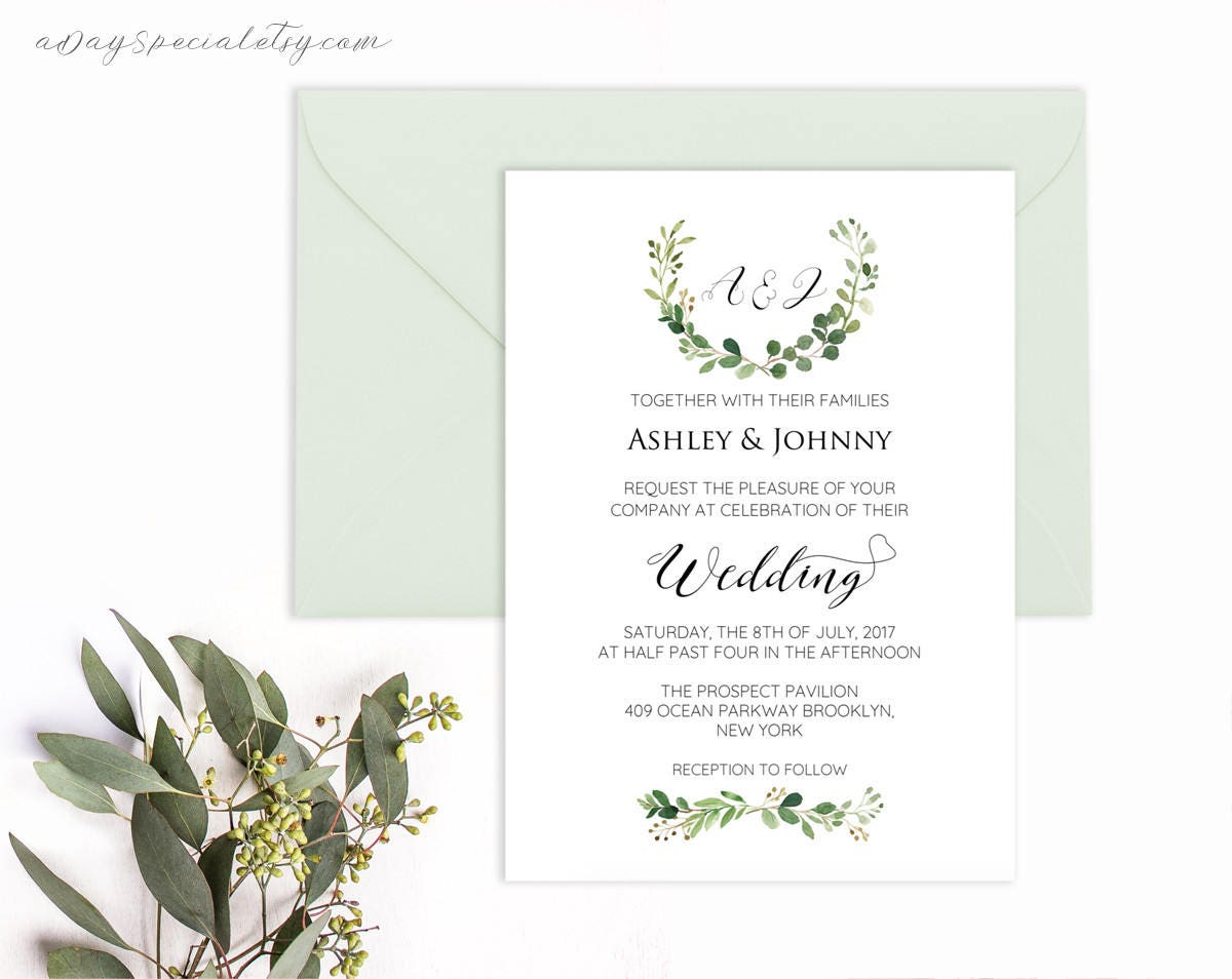 Greenery wedding invitation template printable green branch for Vistaprint templates download