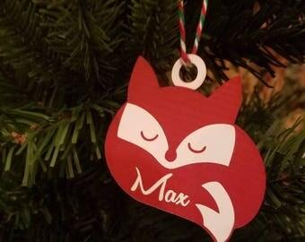 Fox Christmas ornament Fox Ornament baby christmas ornament baby ornament toddler ornament toddler christmas ornament animal ornament name