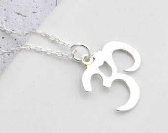 Sterling Silver om necklace, necklace ohm, om symbol, om pendant, silver Om, Ohm Charm, Yoga Jewelry, Spiritual Jewelry, zen necklace, karma