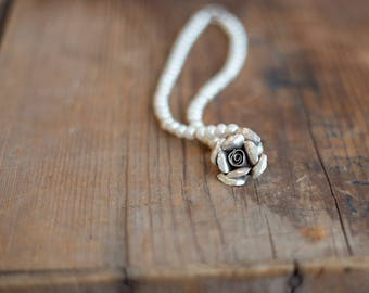 Thai Rose and Pearl Necklace
