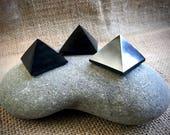 Tiny Shungite Pyramids, Shungite Pyramid, Set of 3, EMF Shield, Genuine Shungite, Black Shungite