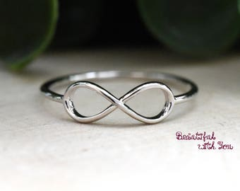 Simple Infinity Ring Silver, Infinity Ring, Womens Infinity Ring Silver, Infinity Wedding Ring Womens, Infinity Ring for Her Girlfriend