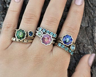 Silver Stacking Rings Set, Stackable Rings, Crystal Rings, Stack Rings, Bohemian Jewelry, Boho Rings, Silver Rings, Inspirational R565