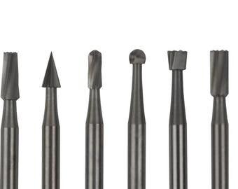 "6 Piece Detailer's Wax Bur Kit - Round Helix Detailing Waxworking Plastic Jewelry Making Bur Set w/ 3/32"" Shanks - BUR-906.00"