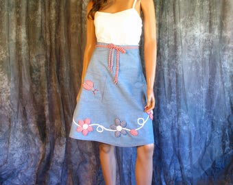 Vintage 1960s Wrap Skirt 60s Chambray Skirt Puff Applique Lady Bug and Flowers SM