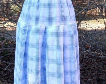 Vintage HIPPIE SKIRT WHITE Blue Plaid Cotton, Country Boho Chic maxi/midi Festival dress, Peasant, Grunge, Dropped Waist Full Twirly, L/Free