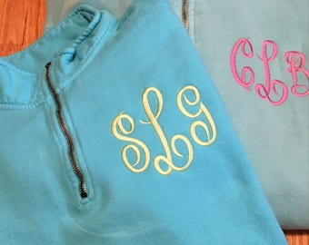 Comfort Colors Monogram Sweatshirt, Quarter Zip Monogram Sweatshirt, Monogram Sweatshirt, Comfort Colors Sweatshirt