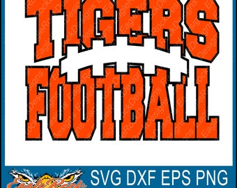Tigers Football| SVG| DXF| EPS| Png| Pdf| Cut File| Tigers| Football| Paw| Mascot| Silhouette| Cricut|  Vector| Decal| Instant Download