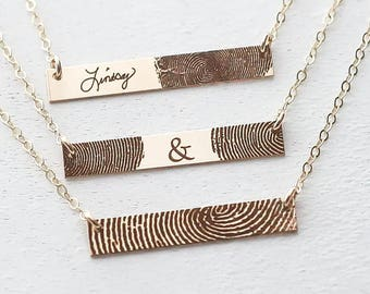 ACTUAL Fingerprint Bar Necklace / Custom Fingerprint Jewelry / Personalized Gift / VALENTINES GIFT / Memorial Necklace / Gold, Silver, Rose