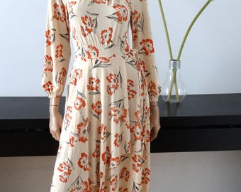 Beige printed dress floral size 34 / uk 6 / us 2