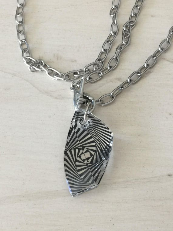 Zebra Swarovski Crystal Necklace, Silver
