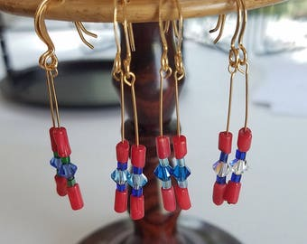 Crystal and Coral (Earrings)