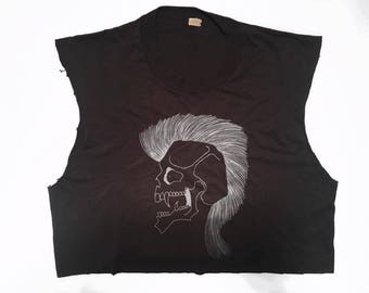 80s Vintage Mohawk Skull Extremely Thin Crop Tank Top