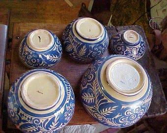 Primitive Mexican Nesting Bowls-c1920's Tlaquepaque-Complete 6 Bowl Set