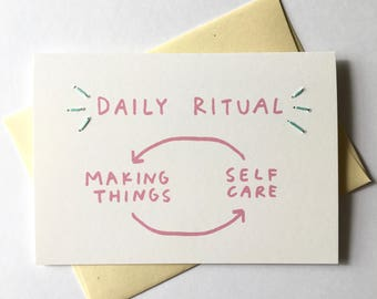 Daily Ritual Card // Making Things = Self Care. Hand Stitched Greeting Card. Cards for Creatives.